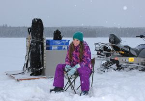 Courtney of Vancouver on her first ice fishing trip with us.