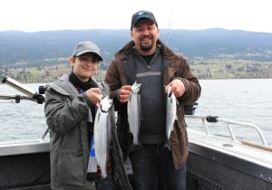 Olivier and son Remy of Oliver with some great Wood Lake Kokanee!
