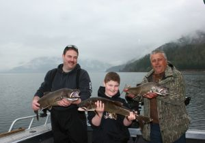 Phil, Timothy and Paul on their annual Shuswap fishing charter