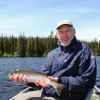 Jan from Sweden with a nice Rainbow Trout caught on the fly.
