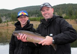 Scott and Mathew with an awesome fly caught Rainbow