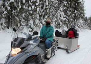 The snowmobile ride into to 'sercret' lake