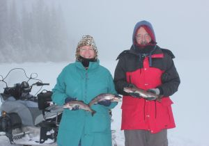 Martin and Angela of Kelowna. Their first time ice fishing. Well done guys!