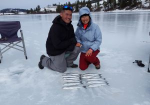 Guests from Maui with their catch of Kokanee.