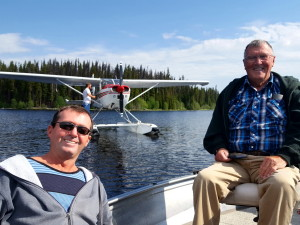 Father and Son float plane and fly fishing