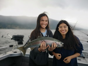 girls fishing on okanagan lake